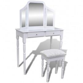 Tocador con espejo 3 en 1 taburete y 2 cajones blanco