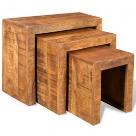 Set de 3 mesitas apilables de madera maciza de mango