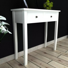 Mesa consola tocador con dos cajones blancos