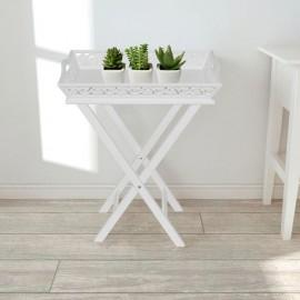 Mesa auxiliar con bandeja blanca