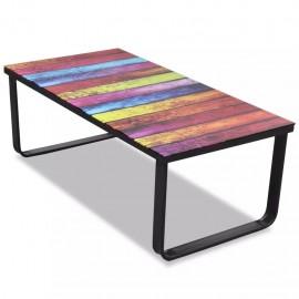Mesa de centro con superficie con impresión de arcoiris