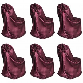 Set de 6 Fundas rojas burdeos para sillas, banquetes y bodas