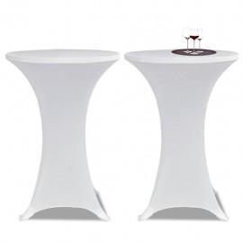2 Manteles blancos ajustados para mesa de pie - 60 cm diámetro