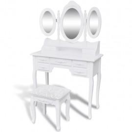 Tocador con taburete y 3 espejos blanco