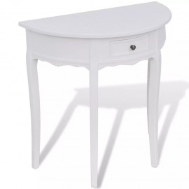 Mesa consola semicircular con cajón blanca
