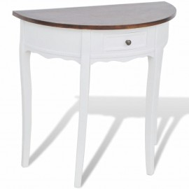 Mesa consola semicircular con cajón blanca y superficie marrón