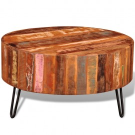 Mesa de centro redonda de madera reciclada maciza