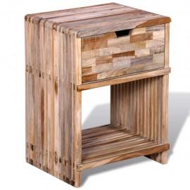 Mesita de noche con cajón de madera de teca reciclada