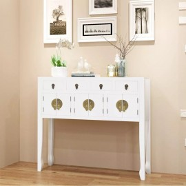 Aparador de estilo chino de madera maciza blanco