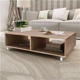 Mesa de centro marrón madera maciza