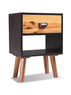 Mesita de noche de madera de acacia sólida 40x30x58 cm