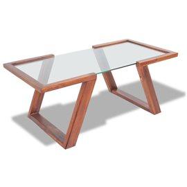 Mesa de centro de madera maciza de acacia 100x50x40 cm marrón