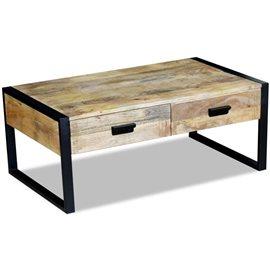 Mesa de centro con 2 cajones madera de mango 100x60x40 cm
