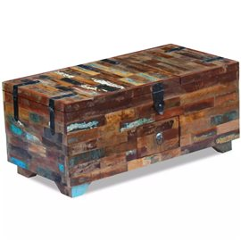 Mesa de centro cofre de madera maciza reciclada 80x40x35 cm