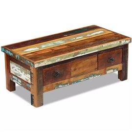 Mesa de centro con cajones madera maciza reciclada 90x45x35 cm