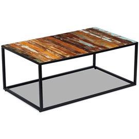 Mesa de centro de madera maciza reciclada 100x60x40 cm