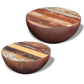 2 Mesas de centro de madera maciza reciclada en forma de cuenco