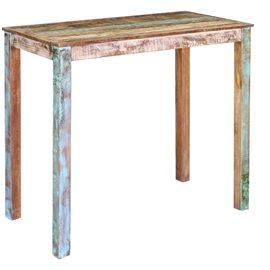 Mesa alta de bar madera maciza reciclada 115x60x107 cm