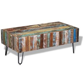 Mesa de centro madera maciza reciclada 100x50x38 cm