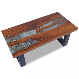 Mesa de centro teca y resina 100x50 cm