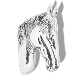 Cabeza de caballo decorativa para pared de aluminio plateado
