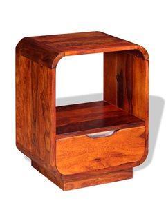 Mesita de noche con cajón de madera maciza sheesham 40x30x50 cm