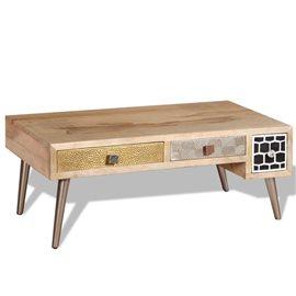 Mesa de centro con 2 cajones madera de mango 105x55x41 cm