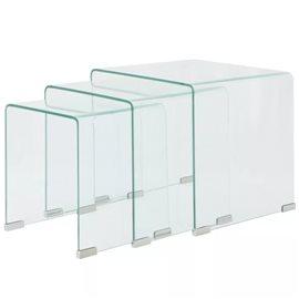 Set de tres mesas de centro apilables vidrio templado claro