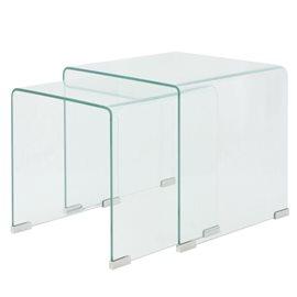 Set de dos mesas de centro apilables vidrio templado claro