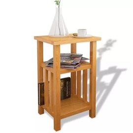 Mesa auxiliar con estante de madera de roble maciza 27x35x55cm