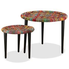 Juego de mesas de centro con detalles chindi 2 uds multicolor