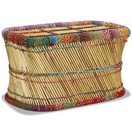 Mesa de centro de bambú con detalles chindi multicolor