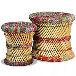 Set de taburetes de bambú con detalles chindi 2 uds. multicolor