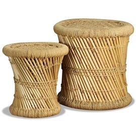 Conjunto de taburetes 2 unidades bambú yute
