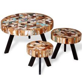 Set de mesas de centro madera reciclada maciza tres unidades