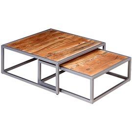 Set de mesas de centro madera maciza de acacia dos unidades