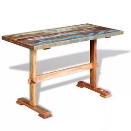 Mesa de comedor pedestal madera maciza de acacia 120x58x78 cm