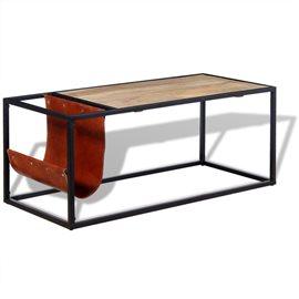 Mesa de centro con revistero de cuero 110x50x45 cm