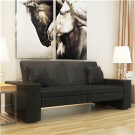 Sofá cama de cuero artificial negro