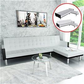Sofá cama en forma de L cuero sintético blanco
