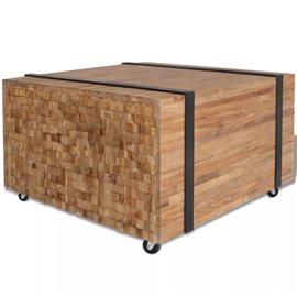 Mesa auxiliar de madera de teca 60x60x38 cm