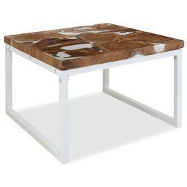 Mesa de centro de teca y resina 60x60x40 cm