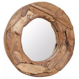 Espejo decorativo de teca 60 cm redondo
