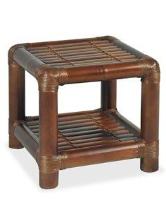 Mesita de noche de bambú marrón oscuro 40x40x40 cm