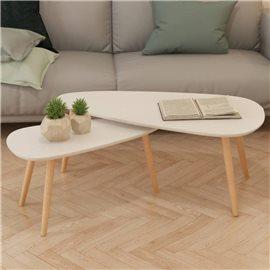 Set de mesas de centro 2 uds madera maciza de pino blanco