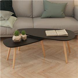 Set de mesas de centro 2 unidades madera maciza de pino negro