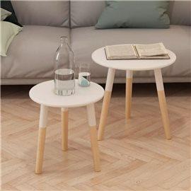 Set de mesas auxiliares 2 unidades madera maciza de pino blanco