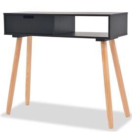 Mesa consola de madera maciza de pino 80x30x72 cm negra