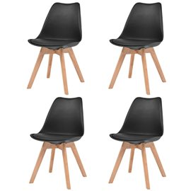 Sillas de comedor 4 unidades cuero artificial y madera negras