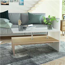Mesa de centro de madera aglomerada 90x59x42cm roble y blanco